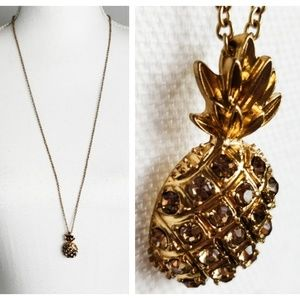 J Crew : Long Gold Tone Pineapple Necklace